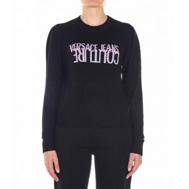 Maglione con motivo logo nero