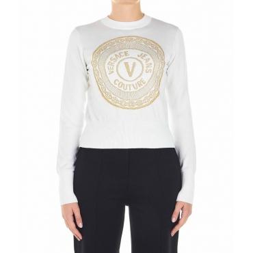 Maglione con emblema glitterato bianco