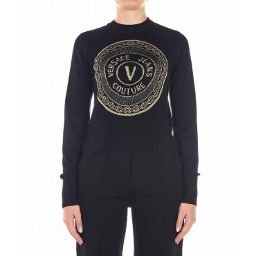Maglione con emblema glitterato nero