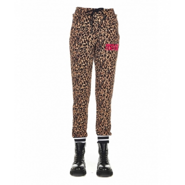 Joggers in stampa animalier marrone