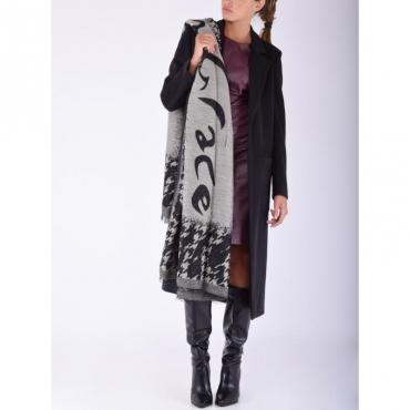 Sciarpa lana pois GRIGIO