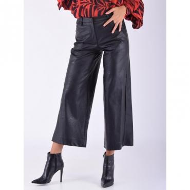 Pantalone cropped ecopelle NERO