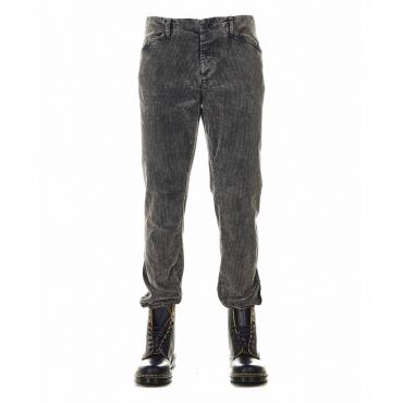 Pantaloni di velluto a coste grigio scuro