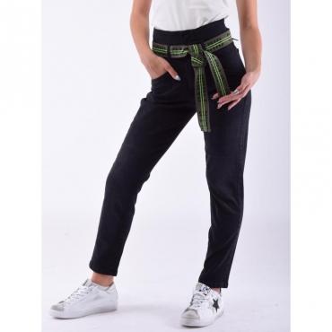 Jeans vita alta con fusciacca NERO