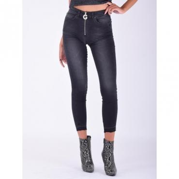 Jeans zip targhetta dietro NERO