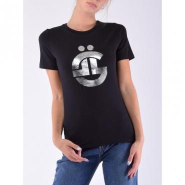 T-shirt mezza manica logo g NERO