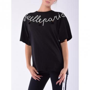 T-shirt scritta con nappine NERO