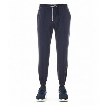 Pantaloni con orlo elastico blu scuro