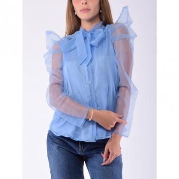 Camicia organza con fiocco CELESTE