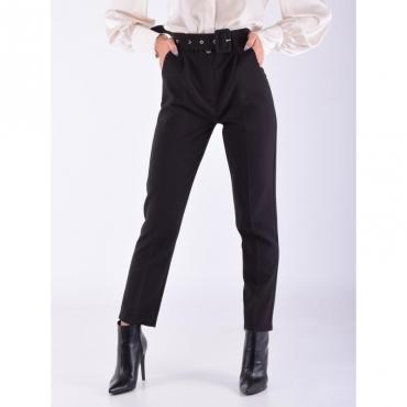 Pantalone vita alta con cintura NERO