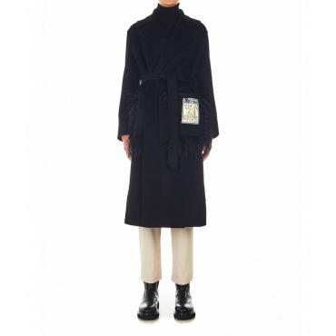 Cappotto di lana con dettagli in piuma nero