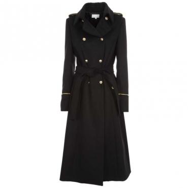 Cappotto lungo nero con mostrine e bottoni dorati K103NERO