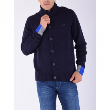 Cardigan bottoni collo in piedi NAVY BLUE