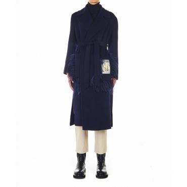 Cappotto di lana con dettagli in piuma blu scuro