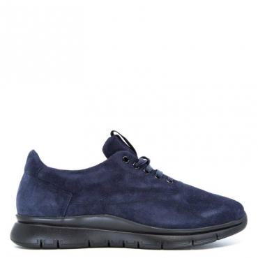 Sneakers blu in cuoio scamosciato