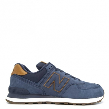 Sneakers 574 in cuoio scamosciato blu DARKNAVY