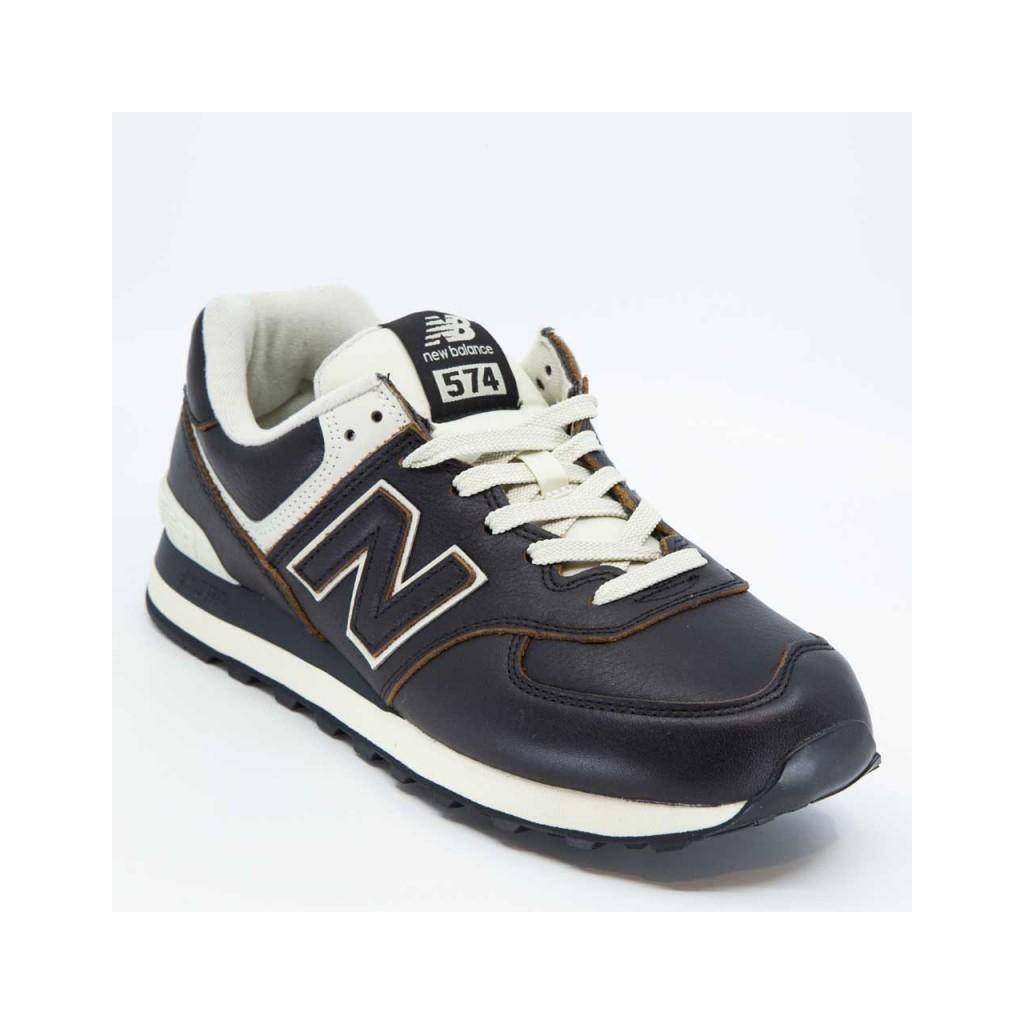 Sneakers 574 in cuoio liscio nero BLACK