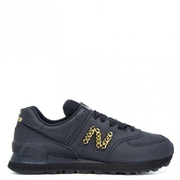 Sneakers nera in cuoio con logo catena BLACK
