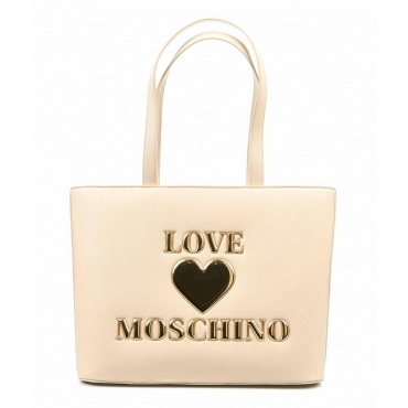 Shopper con patch logo avorio
