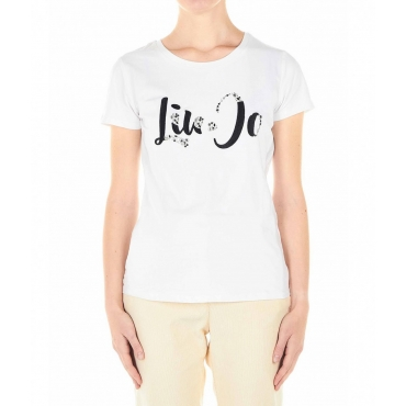T-shirt con ricamo logo e strass bianco