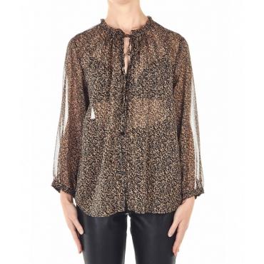 Semi-transparent blouse Directive marrone chiaro