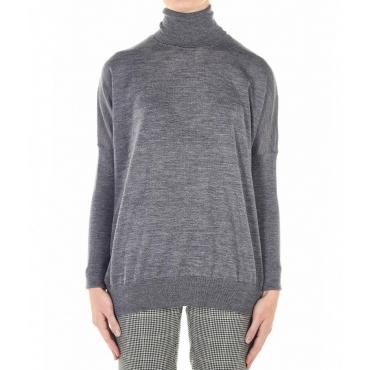Maglione leggero in lana vergine grigio chiaro