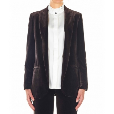 Blazer in velluto marrone scuro