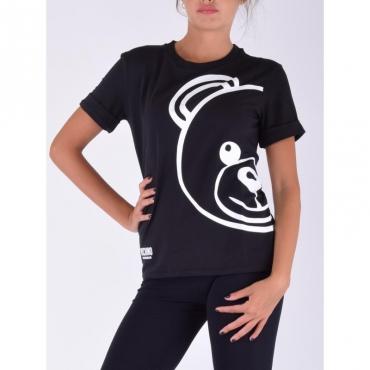 T-shirt orso con manica risvolto NERO