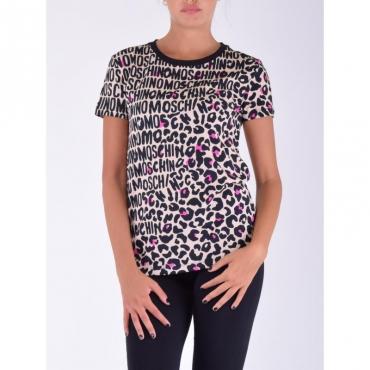 T-shirt animalier logata CAMMELLO/NERO/FUCSIA