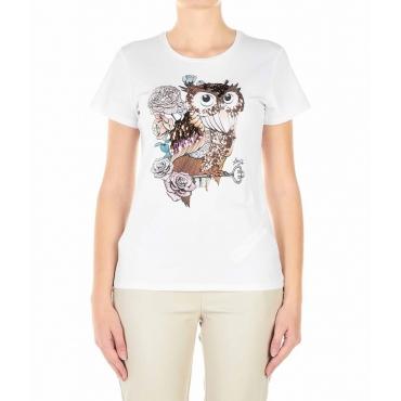 T-shirt con applicazioni decorative bianco