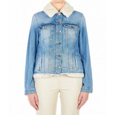 Giacca jeans con fodera in eco-pelliccia blu