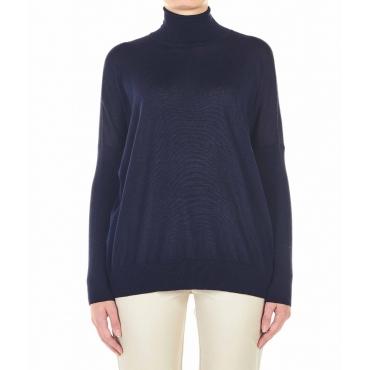 Maglione leggero in lana vergine blu scuro