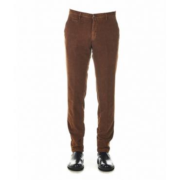 Pantaloni in velluto con struttura marrone