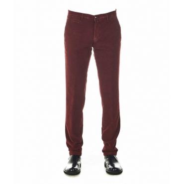 Pantaloni in velluto con struttura rosso