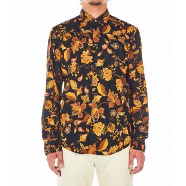 Camicia con motivo floreale arancione