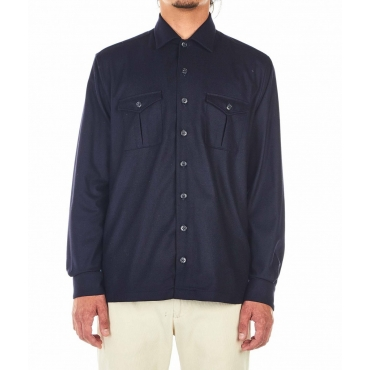 Camicia in lana blu scuro