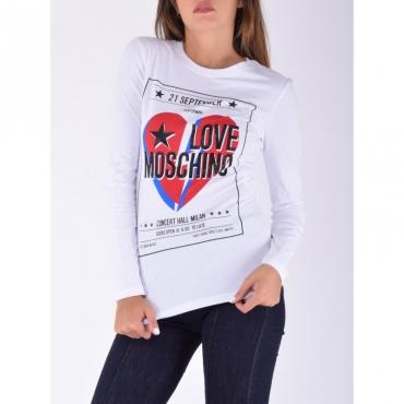 T-shirt manica lunga cuori BIANCO