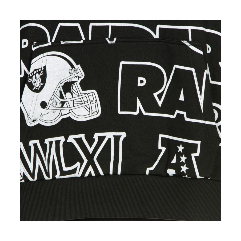 FELPA CAPPUCCIO NFL RAIDERS ALL OVER PRINT PULLOVER HOODY OAKRAI BLACK/ORIGINAL TEAM COLORS