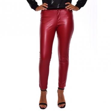 Pantalone 5 tasche ecopelle ROSSO