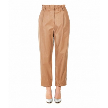 Pantaloni in eco pelle marrone