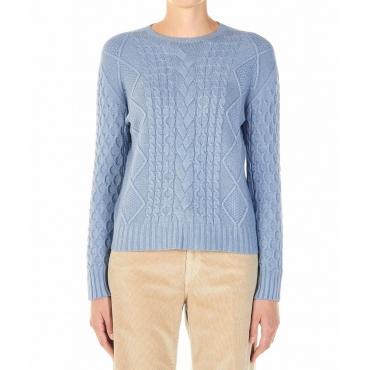 Maglione con motivo a maglia azzurro