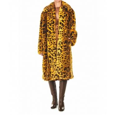 Cappotto in eco-pelliccia Maxine giallo