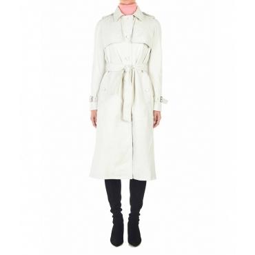 Cappotto in pelle di agnello bianco