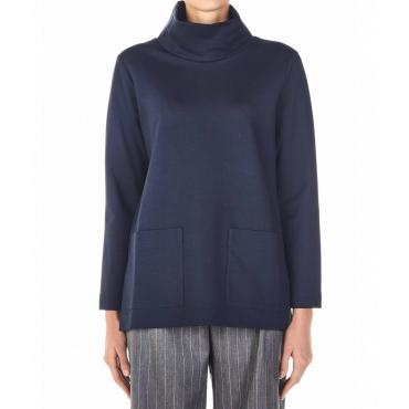 Maglione con tasche applicate blu scuro