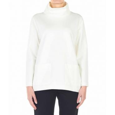 Maglione con tasche applicate bianco