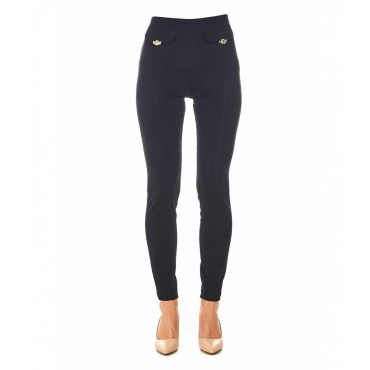 Leggings con bottoni con logo nero