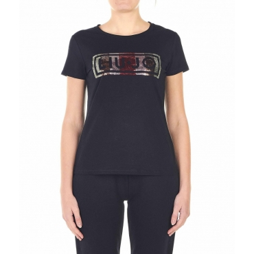 T-shirt con ricamo logo e strass nero