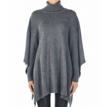 Poncho a maglia grigio