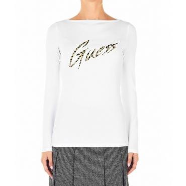 Shirt con logo animalier bianco