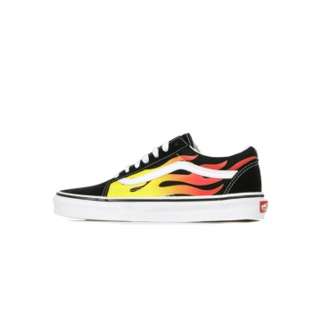 SCARPA BASSA OLD SKOOL FLAME BLACK/BLACK/TRUE WHITE